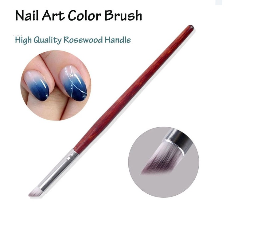 Good Quality Red Color Wood Handle UV Gel Brush Gradient Effect Angular Head Nail Art Color Brush