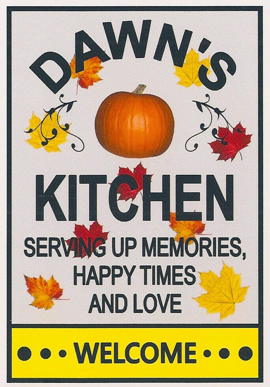 """""""DAWN'S KITCHEN"""" """"AUTUMN - FALL COLORS"""". Customize for any name. Three sizes. Refrigerator magnet. """"FREE SHIPPING"""". Flexible. Available for quick shipping. """"SERVING UP HAPPY TIMES AND LOVE""""."""