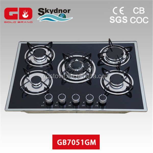 High quality 5 burner gas cooker hob cast iron