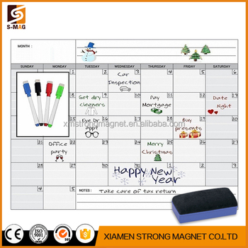 Magnetic Monthly Calendar White Board Planner For Your Refrigerator
