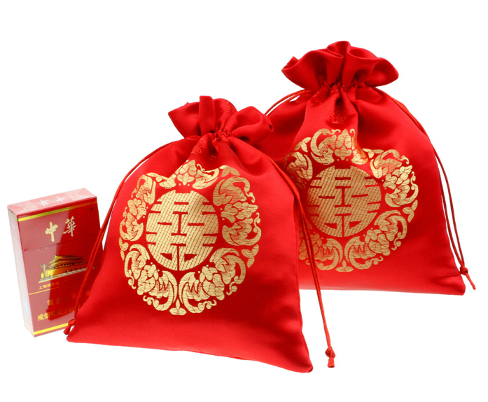 Traditional Chinese Wedding Gifts: 100pcs Elegant Cloth Wedding Candy Bags 9x13cm Wedding