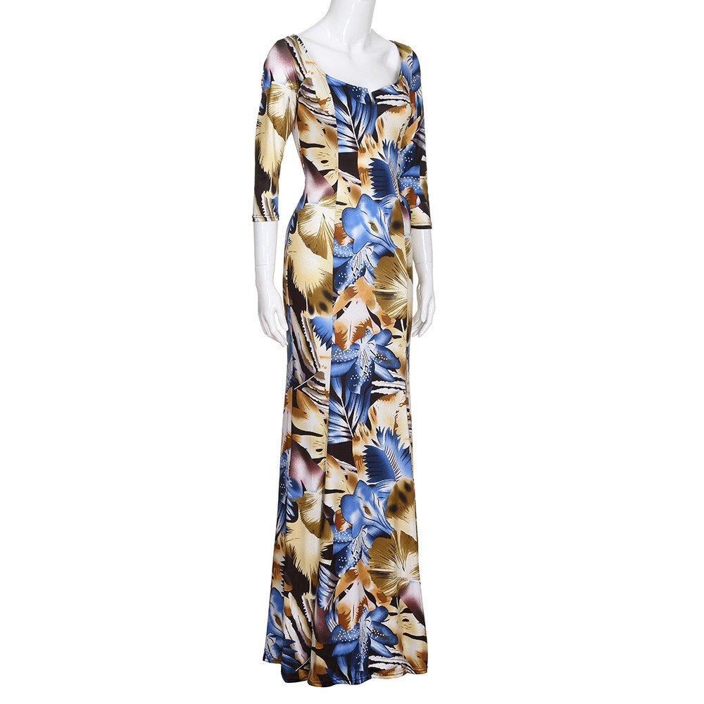 1bc4ef532adc4 FeiTong women vintage print maxi dress Pencil low cut square neck  sleeveless long dress summer Ladies floral dresses vestidos