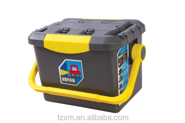 car trunk lock tool and sundries organizer box with inner bucket