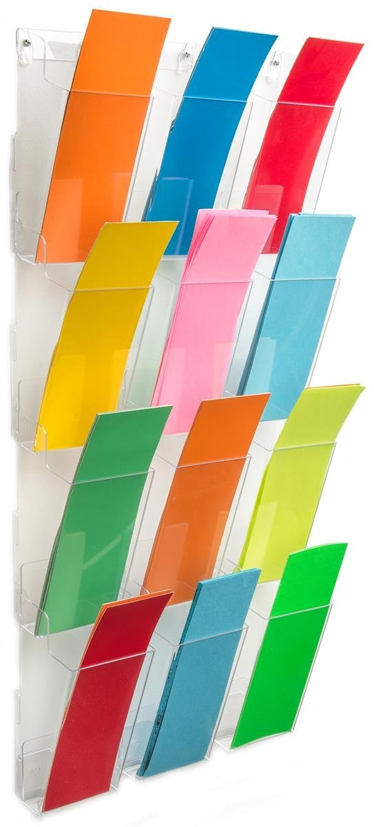 """Wall Brochure Holder, 12 Full-View Pockets Hold 4""""x9"""" Pamphlets, Hardware Included (Clear Acrylic"""