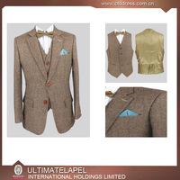 Tweed fabric Custom Made Men Formal Suits