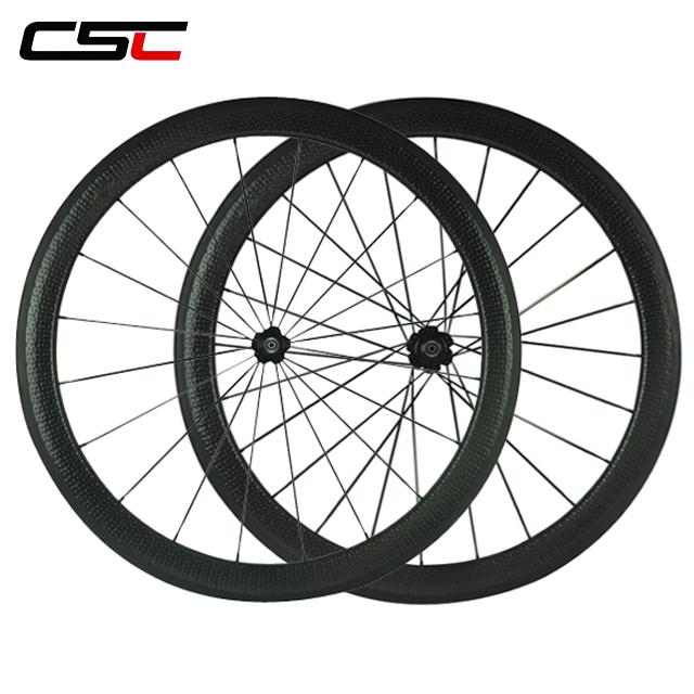 CSC 25mm Width 50mm Depth Clincher Carbon Road Bike Wheelsets 700c Dimple Surface Carbon Wheels