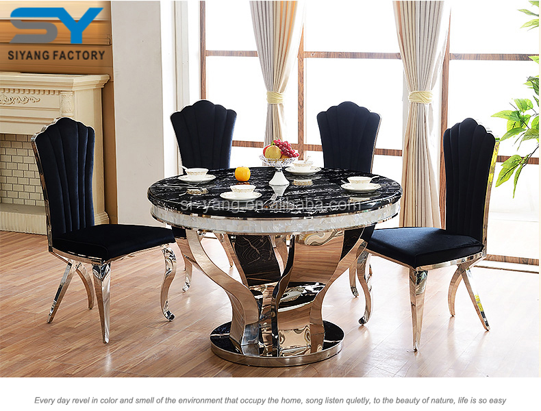 Modern Round Marble Dining Table Set, Baroque Dragon Mart Dubai Marble  Dining Table 6 Seater