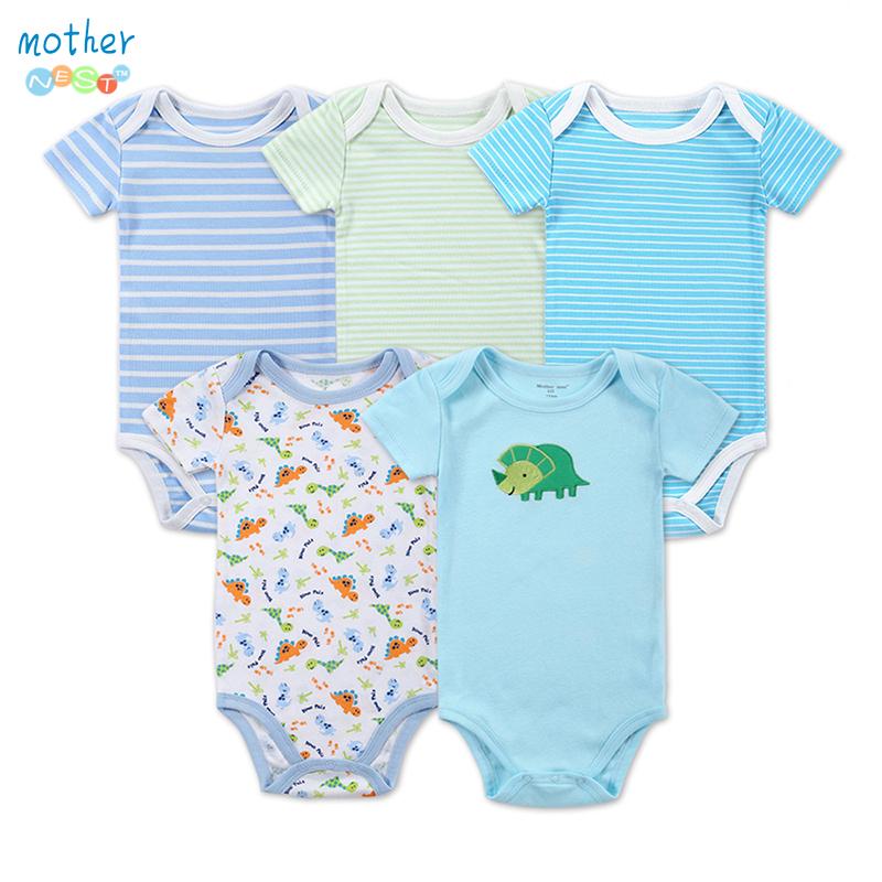 5 Pieces lot Newborn Baby Romper Short Sleeve Cotton Fashion Summer Baby Boy Clothes Baby Wear