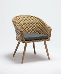 Wide PE Rattan Luxry Commercial Cafe Arm Side Chair In Natural