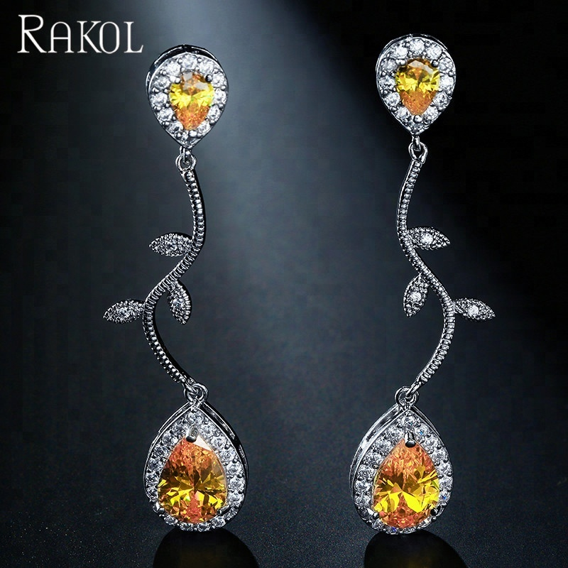 RAKOL E2037 Fashion Waterdrop Zircon Long <strong>Clear</strong> <strong>Crystal</strong> drop Earrings For Women Wedding E2037