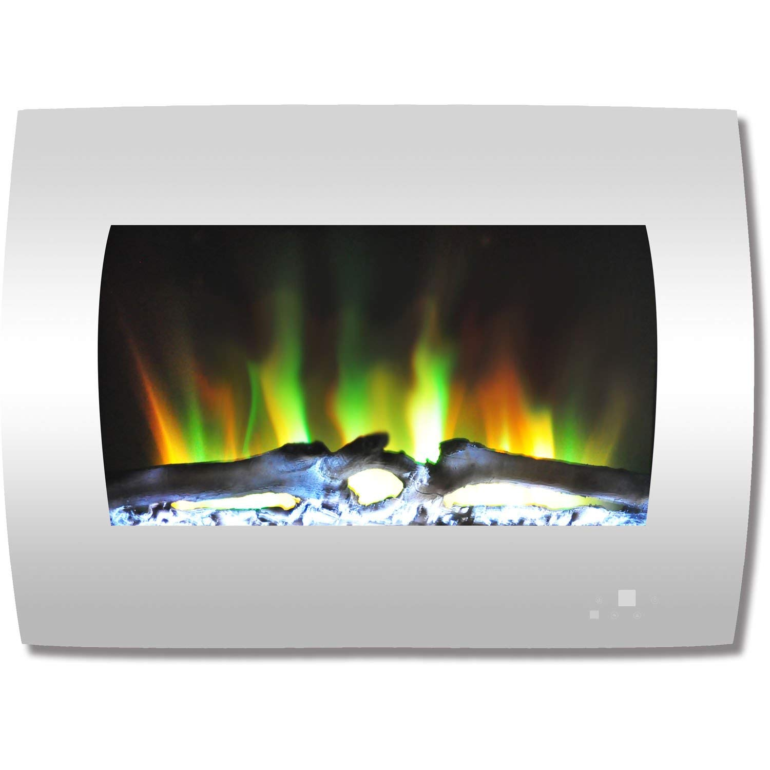 Cambridge CAM26WMEF-2WHT 26 In. Curved Wall-Mount Electric Fireplace in White with Multi-Color Flames and Log Display