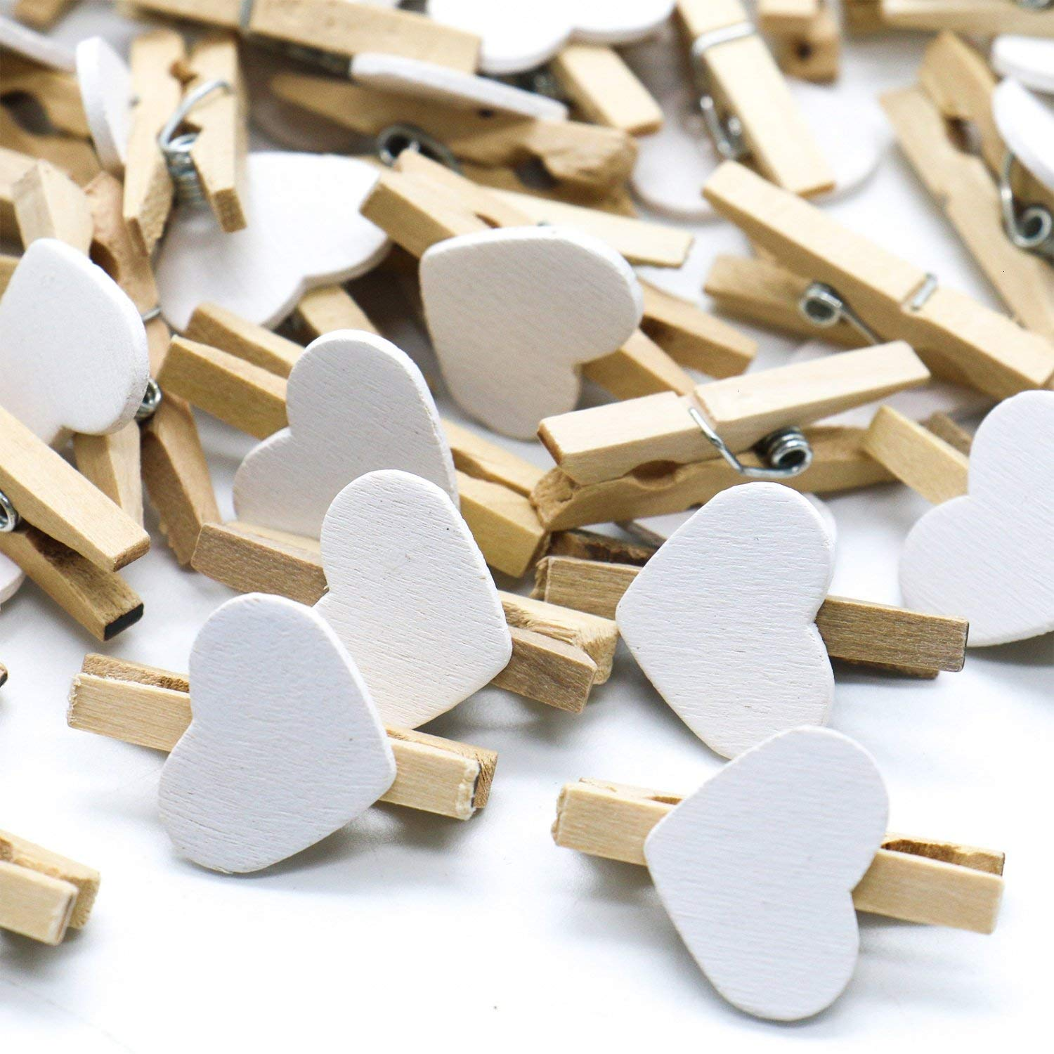 Buorsa 100 Pcs Wooden Mini Clothespins Love And Heart Clothespins For Photos (White)