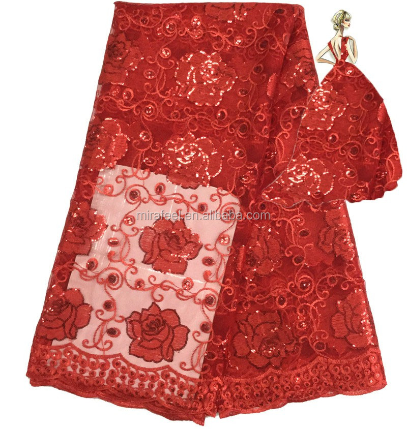 New Arrival African Lace Fabric For Dress Making Lace Red Color Fashion French Lace