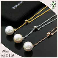 Adjustable Length Drop Pearl Design Plating Gold Chain 925 Sterling silver Necklace