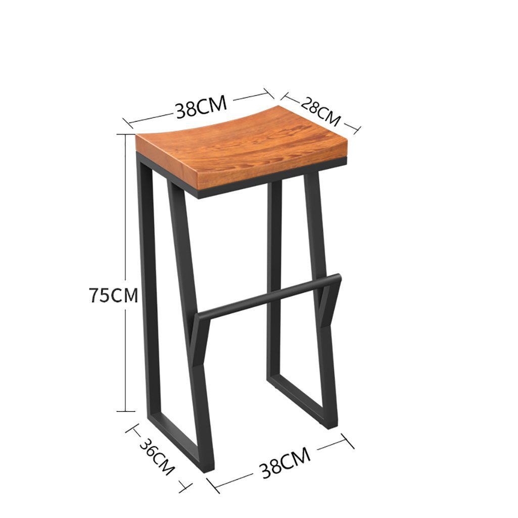 Get Quotations · LQQGXL European Chair Stool Bar Stools Iron Bars Chairs  Solid Wooden Stools Bar Stools Leisure Bars