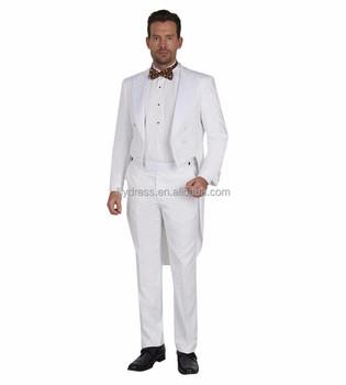 Tailcoat Groomsmen Peaked Satin Lapel Groom Tuxedos White Men Suits