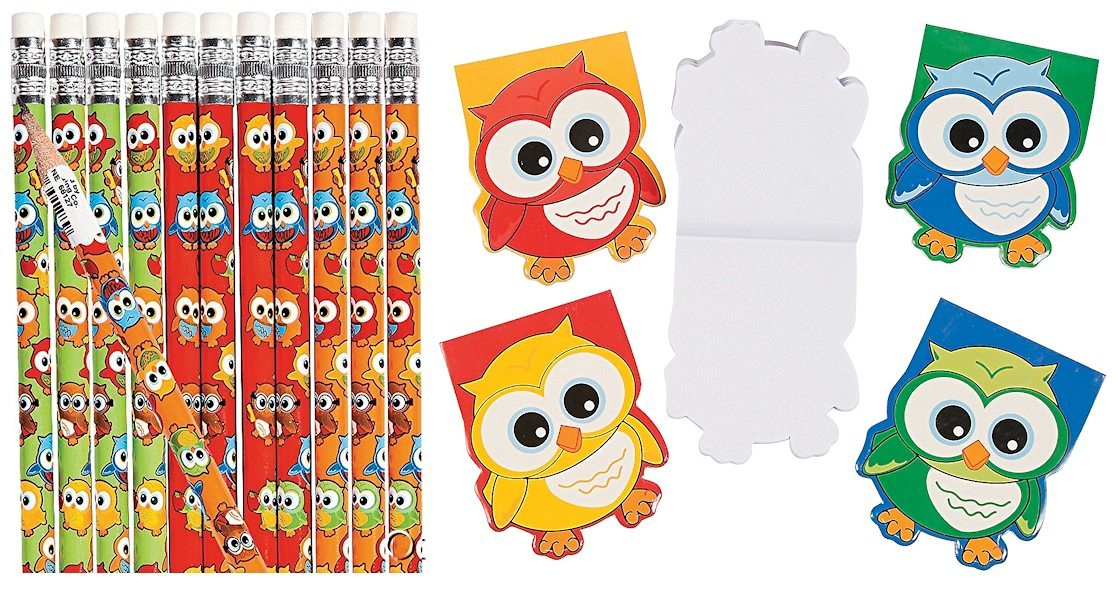 Hoot Owl Birthday Party Favor Pack (12 pencils & 12 Owl-Shaped Notepads) School Supplies/Stationery