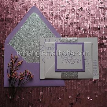 Lavender Glitter Paper With Glitter Insert Paper Envelope Royal Wedding Invitations Card Buy Glitter Paper Wedding Invitations Card Luxurious
