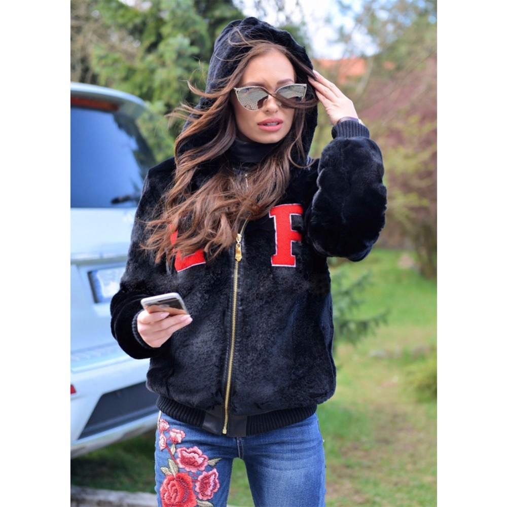 Hot selling Women Artificial faux fur warm hooded coat with wholesale price