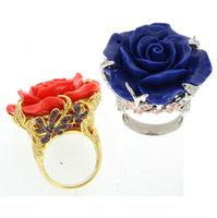 Wholesale fashion jewelry latest design rose flower jewelry ring model