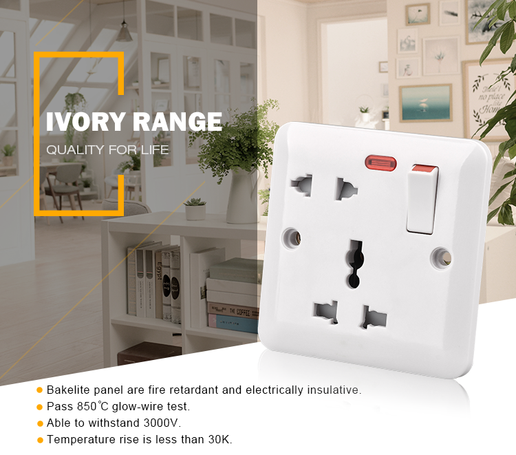 BS1363 electrical 220v 3 pin multi plug wall socket outlet