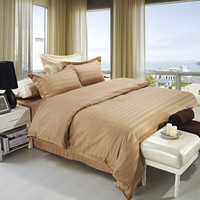 Wholesale 60s gold bedding set customized duvet hotel cotton satin stripe