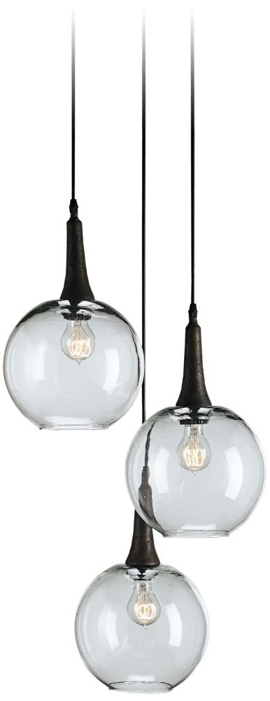 Currey and Company 9969 Beckett Trio - Three Light Adjustable Pendant, Emery Rust Finish with Clear Glass