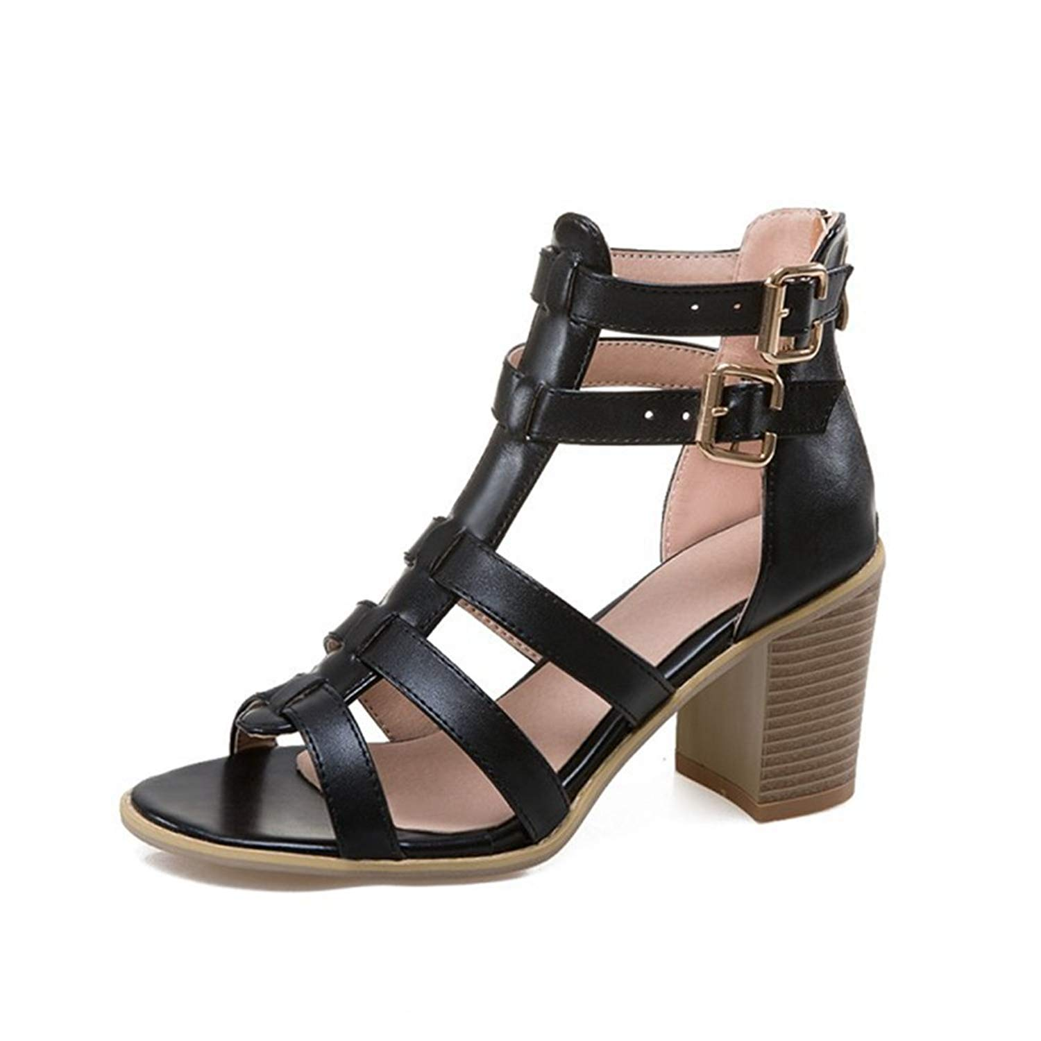 b87261a0200 Get Quotations · GIY Women s Gladiator Strappy High Heel Sandals Peep Toe  Chunky Block Heel Caged Pump Dress Wedges