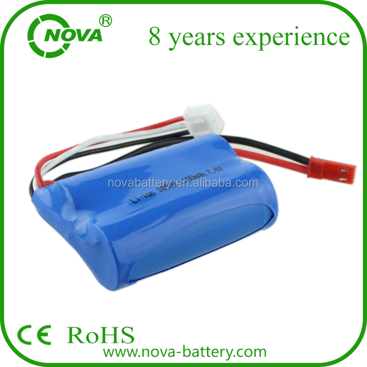 18500 li ion battery 7.4v 1100mah rechargeable battery pack