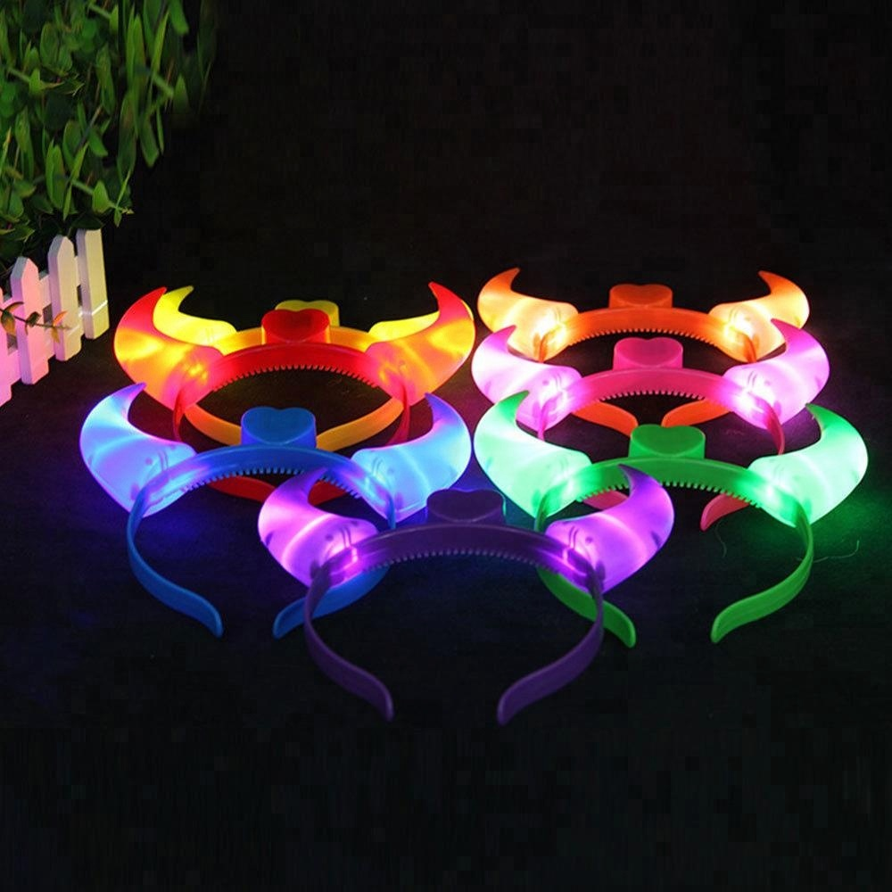 Light Up Devil Horn Headband Costume Dress Up Flashing Accessory Halloween Party