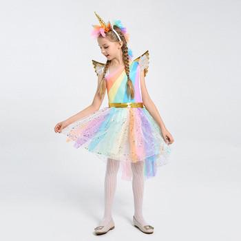 e215d085e Halloween niños niñas princesa unicornio Arco Iris Tutu vestido vestidos de  fiesta ...