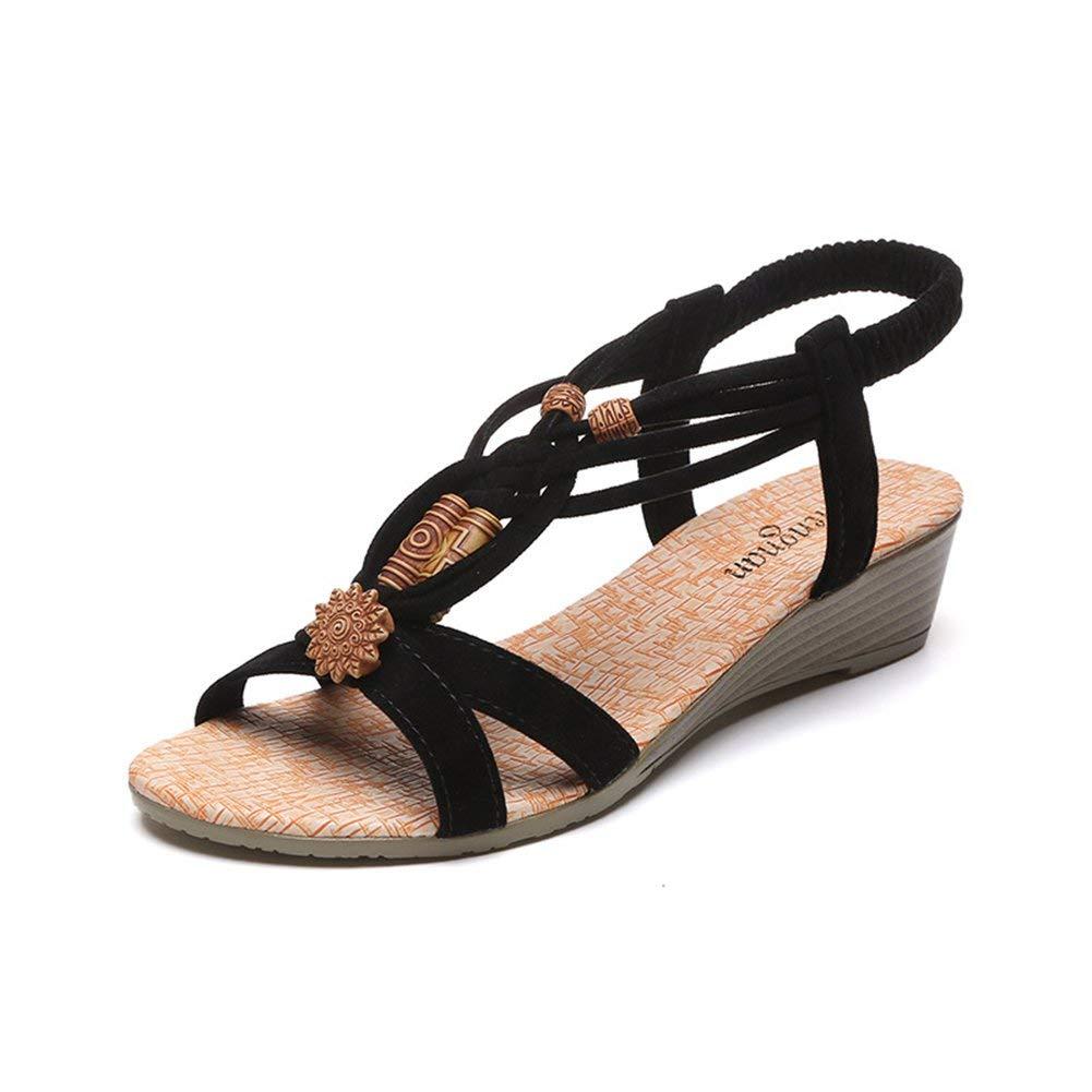 77b149561 Get Quotations · JUIOKK Women's Beach Sandals Flat Wedges Open Toe Shoes Beads  Bohemia Summer Slippe Dressy Sandals for
