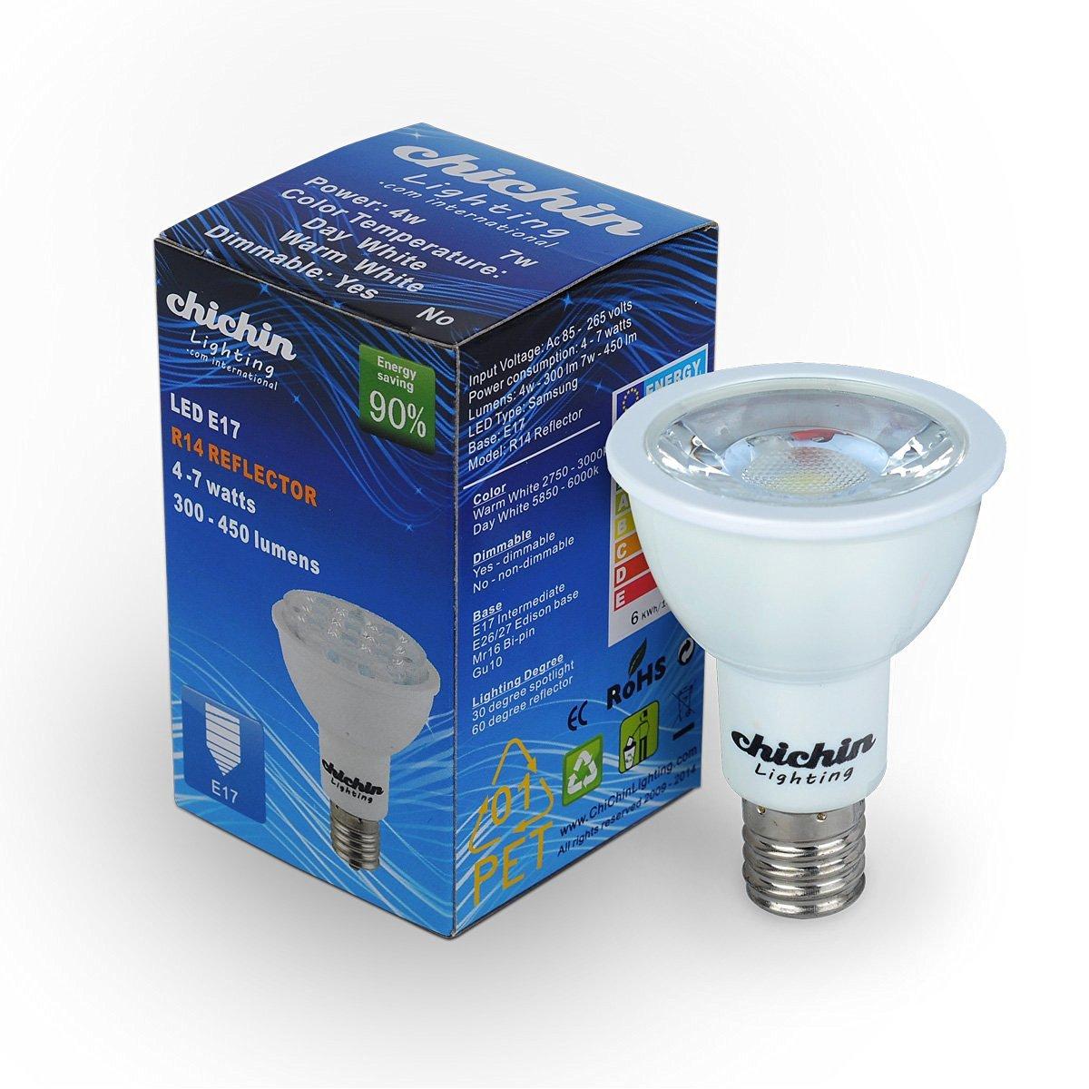 ChichinLighting 1-pack par16 COB e17 R14 LED spotlight light 7W 2850K warm white 500lm brightest led bulbs AC 110V 60W halogen bulbs replacement