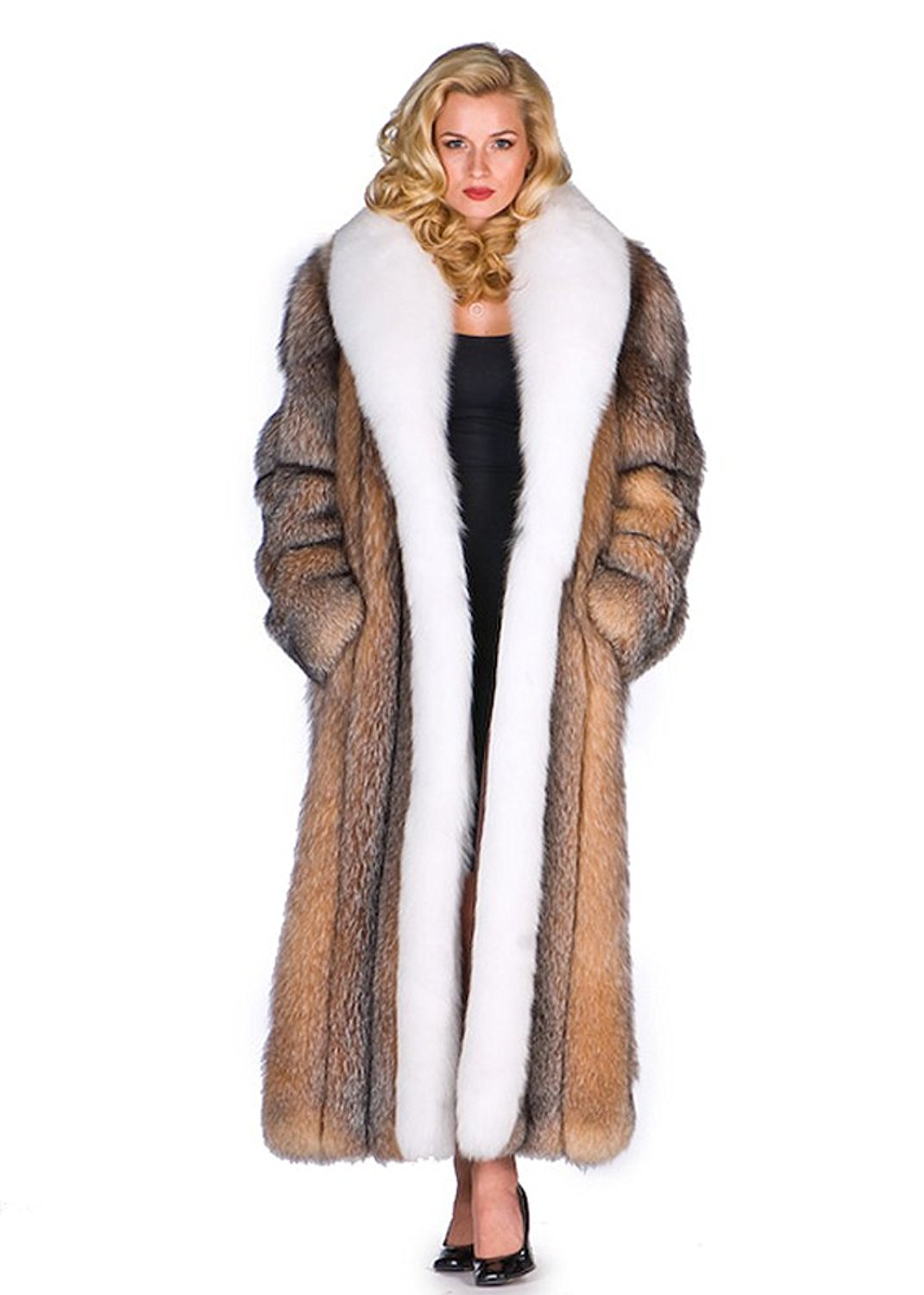 df00379adf2e6 Get Quotations · Long Fox Fur Coat For Women Real Full Length White Fox Trim  - Crystal Fox Body