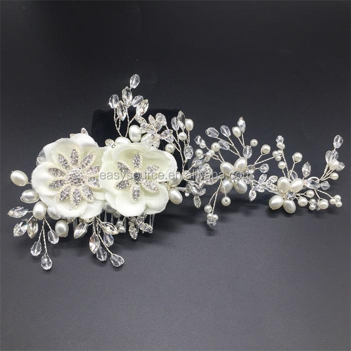 adornos para el cabello de novia blanco perla de la flor del pelo peine perla rhinstone