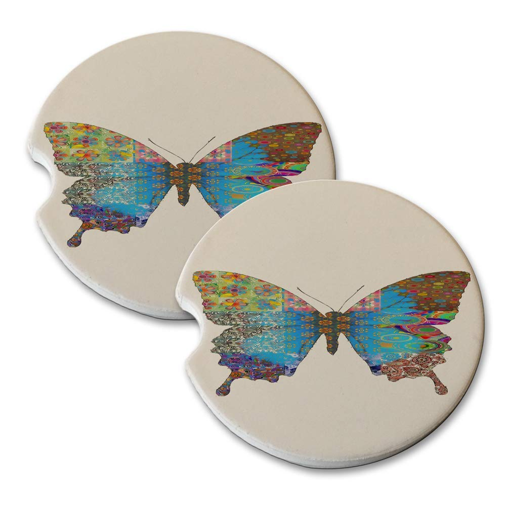Butterfly Pattern - Absorbant Sandstone Car Drink Coaster Set (Set of 2 car Coasters)