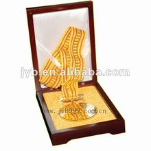 Award sports metal trophy for excellent individual with wooden box