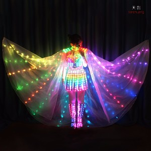 Stage Performance Full Color Led Magic Fairy Outfit Costume with Butterfly Isis Wings