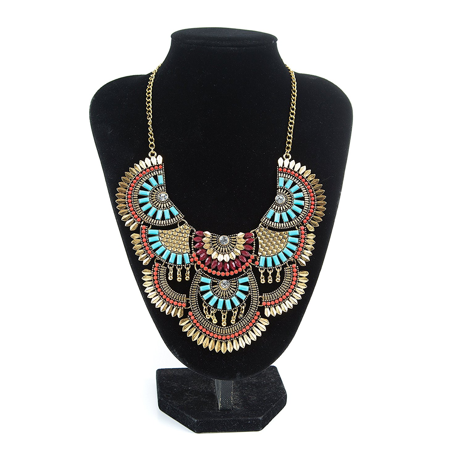 Miraculous Garden Womens Vintage Alloy Silver/Gold Boho Bohemian Necklace Ethnic Tribal Boho Necklace Turquoise Beads Crystal Necklace