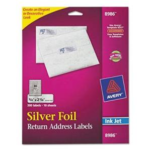 "Avery - 2 Pack - Foil Mailing Labels 3/4 X 2-1/4 Silver 300/Pack ""Product Category: Labels Indexes & Stamps/Labels & Stickers"""