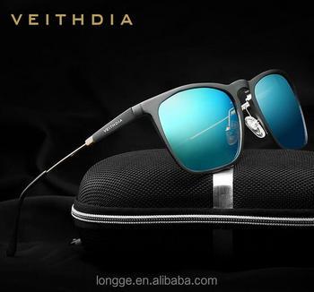 3c4bf2f4d VEITHDIA Mens Praça Retro Óculos De Sol De Alumínio Polarizado Lente Azul  Do Vintage Óculos Acessórios