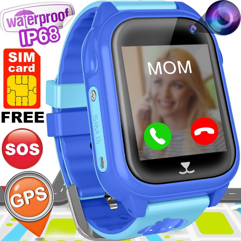 "Kids Smart Watch Phone with FREE SIM CARD GPS Tracker Watch for Girls Boys IP68 Waterproof Fitness Smartwatch Pedometer Camera Anti-Lost SOS Alarm Clock 1.54"" Touch Screen Child Sport Wrist Watch Game"