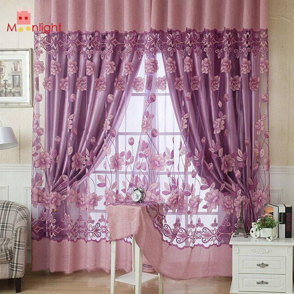 BEST 250*100cm 1 Sheet Flower Curtain Floral Tulle Voile Curtain Home Decoration Curtain Door Window Curtains for Living Room