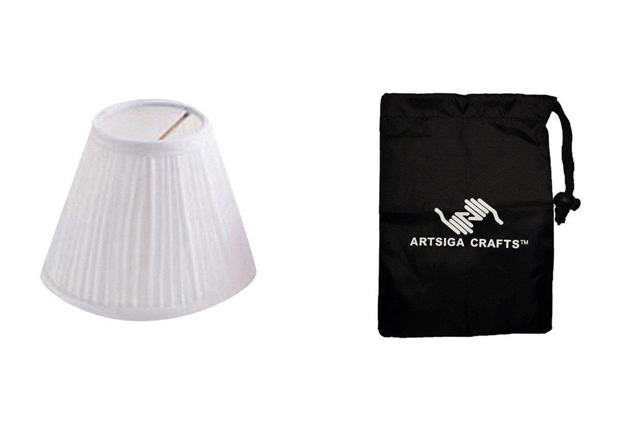 Darice Lamp Shade Cloth Pleated White 4in. (6 Pack) 2609 61 Bundle 1 Artsiga Crafts Small Bag
