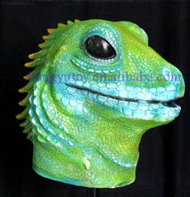 2013 The highest selling mardi gras DIY Design Latex Adult Size Fashion Realistic Colorful Latex Green lizard mask