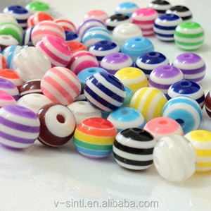 DIY Handmade 8MM Mixed Color Stripe Resin Beads Jewelry Accessories