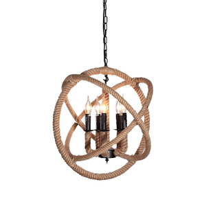 Industrial Chain Hanging Light Chandelier Retro Hemp Rope Pendant Lamp