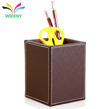 2018 high quality office bank desk storage handmade PU leather pen holder