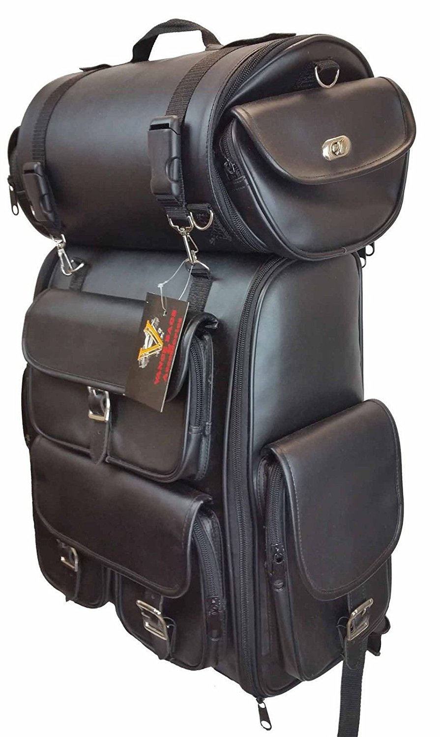 Get Quotations Motorcycle Large Sissy Bar Travel Bag Back Pack Luggage New Black