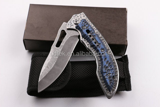 OEM corrosion pattern unique design folding knife with G10
